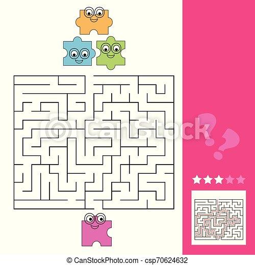 Ayuda a la pieza del rompecabezas a encontrar el camino al rompecabezas, el juego de laberinto para los niños, respuesta - csp70624632