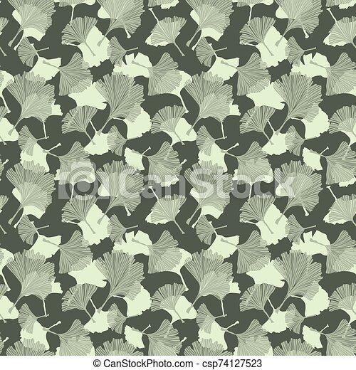 ayurvedic, pattern., 芸術, 有色人種, biloba, セージ, 葉, 線, バックグラウンド。, 象牙, 薄い, 薬, theme., 植物, 健康, 銀杏, モノクローム - csp74127523