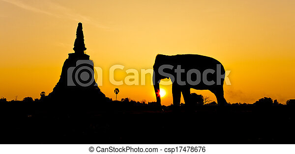 ayutthaya, pagoda, elefanti, tailandia - csp17478676