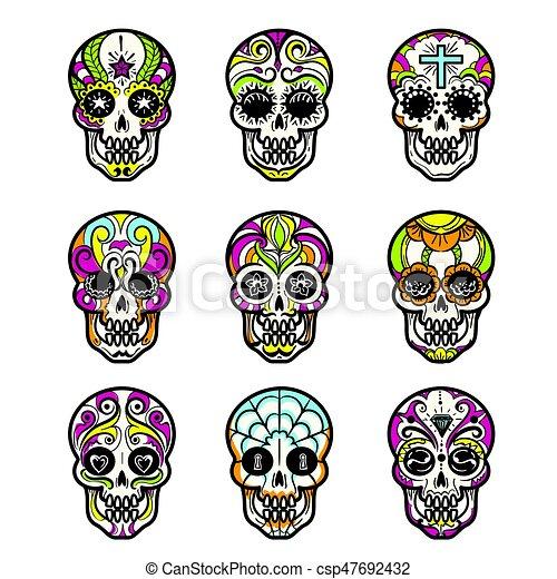 Azúcar, conjunto, coloreado, cráneo, iconos. O, conjunto, mexicano ...