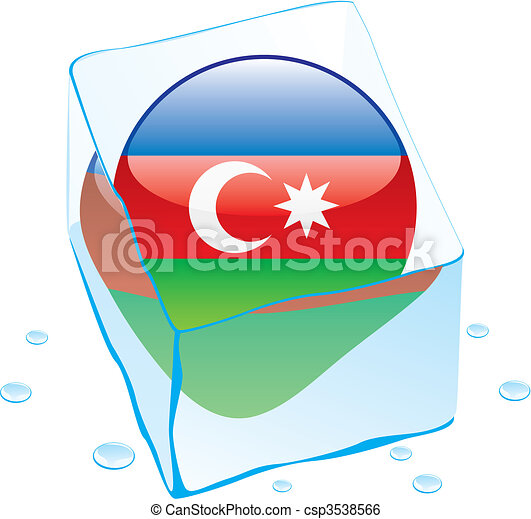 azerbaijan button flag frozen in ic - csp3538566