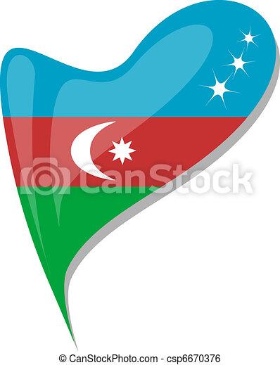 azerbaijan flag button heart shape. vector - csp6670376