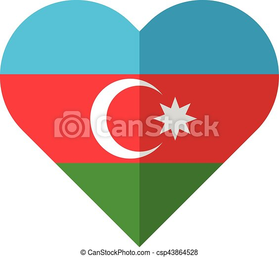 Azerbaijan flat heart flag - csp43864528