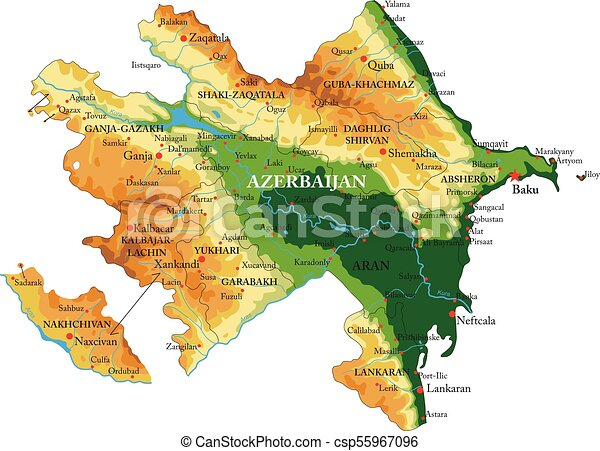 Azerbaijan relief map highly detailed physical map of azerbaijanin azerbaijan relief map csp55967096 gumiabroncs Gallery