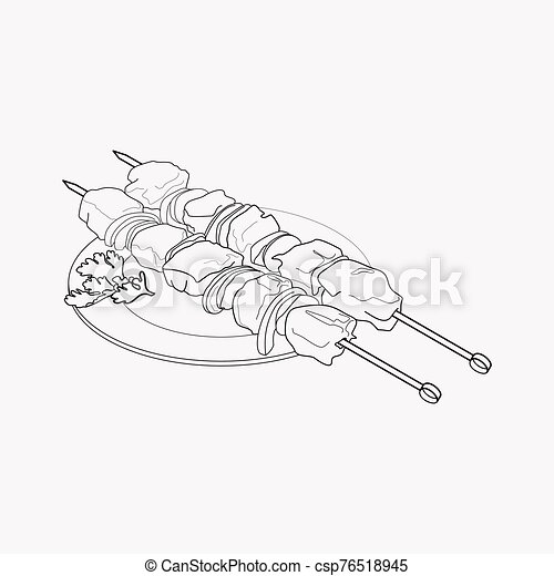 Azeri shish kebab icon line element. Vector illustration of azeri shish kebab icon line isolated on clean background for your web mobile app logo design. - csp76518945
