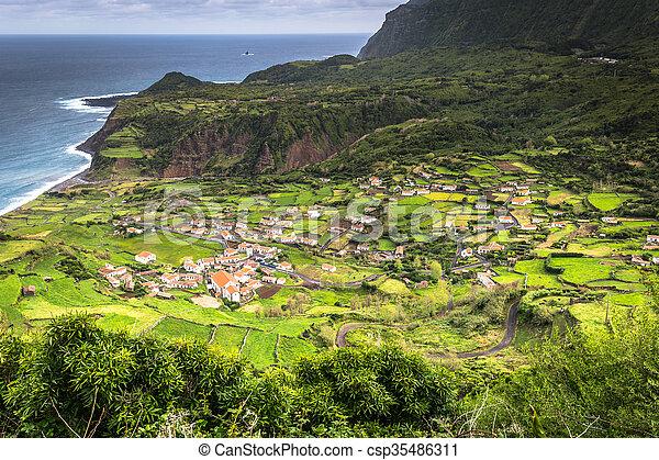 Azores coastline landscape in Faja Grande, Flores island. Portugal. - csp35486311