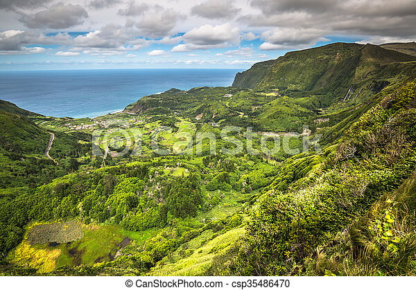 Azores coastline landscape in Faja Grande, Flores island. Portugal. - csp35486470