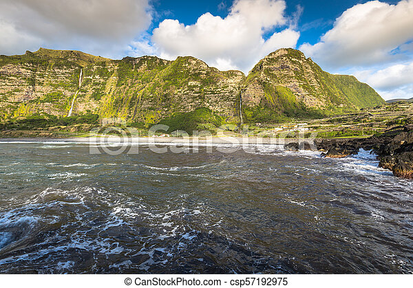 Azores coastline landscape in Faja Grande, Flores island. Portugal. - csp57192975
