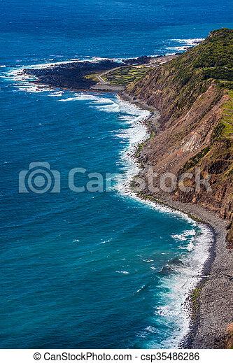 Azores coastline landscape in Faja Grande, Flores island. Portugal. - csp35486286