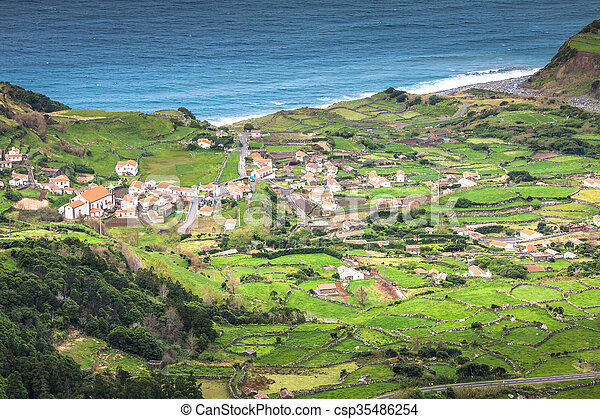 Azores coastline landscape in Faja Grande, Flores island. Portugal. - csp35486254