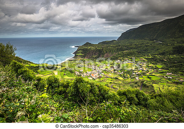 Azores coastline landscape in Faja Grande, Flores island. Portugal. - csp35486303
