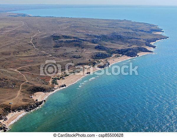 Azov sea lagoon coastline aerial lanscape view - csp85500628