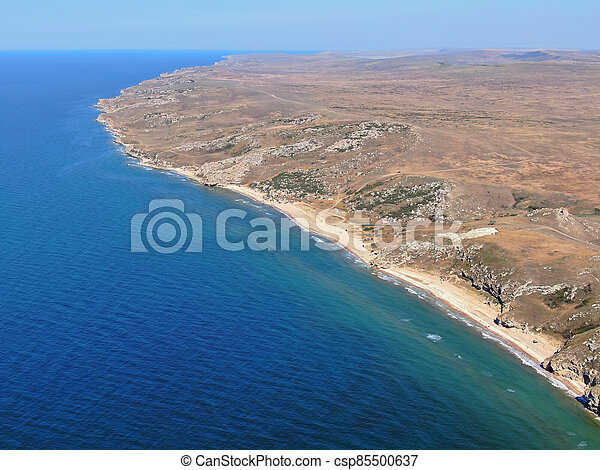 Azov sea lagoon coastline aerial lanscape view - csp85500637
