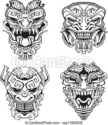 Azt que totem masques monstre ensemble monstre masks totem vecteur noir azt que - Dessin azteque ...