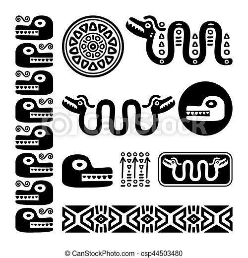 Aztec Animals Mayan Snake Ancient Mexican Design Set