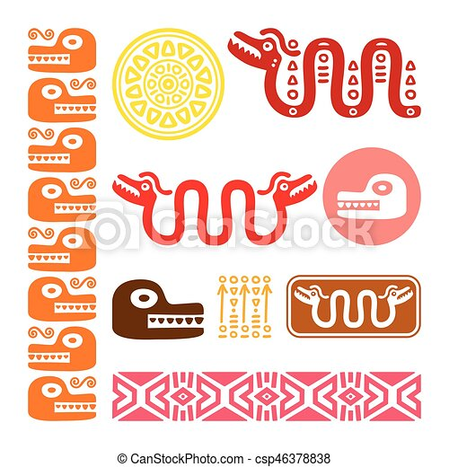 Aztec Animals Mayan Snake Ancient Mexican Design Set Abstract
