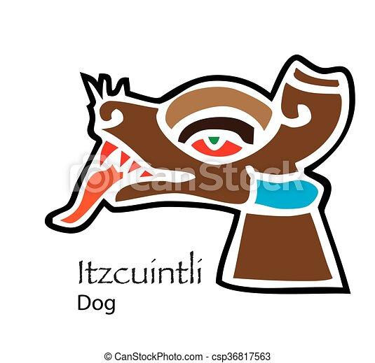 vector aztec itzcuintli dog icon clip art vector search drawings rh canstockphoto ie aztec temple clipart aztec calendar clipart