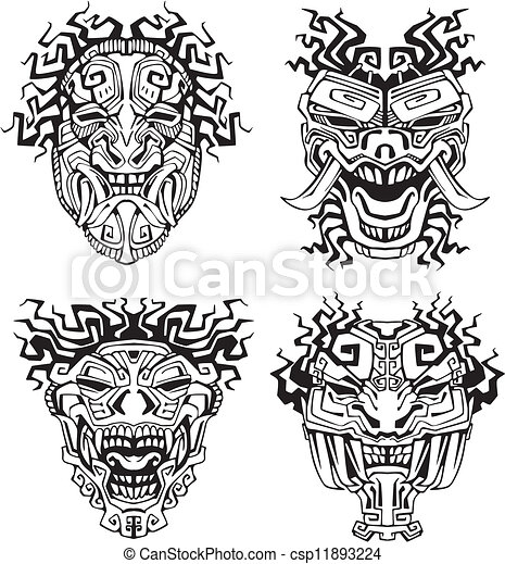Aztec monster totem masks - csp11893224