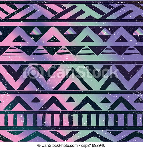 Aztec Tribal Seamless Pattern on Cosmic Background