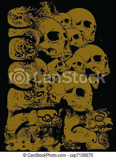 Aztec vector wall of skulls. Vector aztec wall of skulls ...