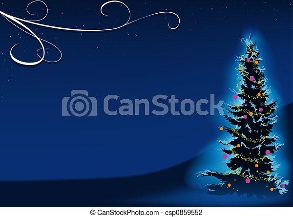 azul, árvore, natal - csp0859552