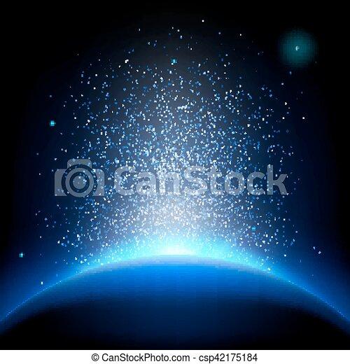 Tierra, amanecer en el espacio azul profundo. EPS 10 - csp42175184