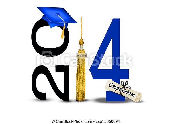 Sombrero azul y borla de oro para 2014 - csp15850894