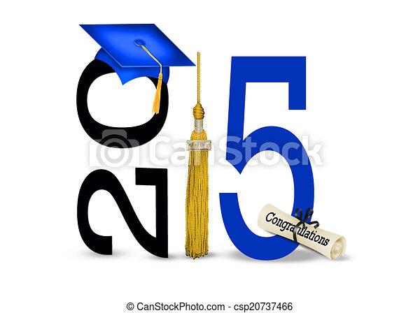 Gorra de graduación azul para 2015 - csp20737466