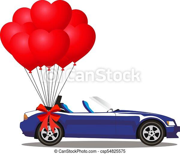 azul, aberta, cabriolé, car, modernos, escuro, balões, caricatura - csp54825575
