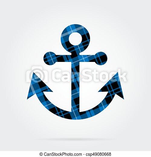 Azul Aislado Negro Tartán Ancla Barco Icono Gris Azul