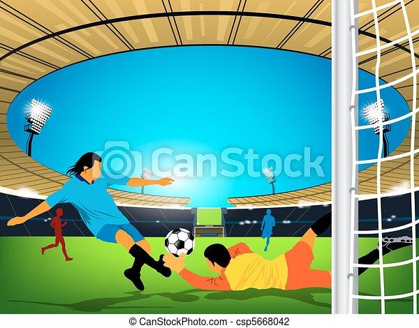 La ilustración de un partido de fútbol en un estadio al aire libre. El jugador del equipo azul tiene una oportunidad en el gol y portero del equipo rojo tratando de evitar que la patada llegue a la meta. - csp5668042