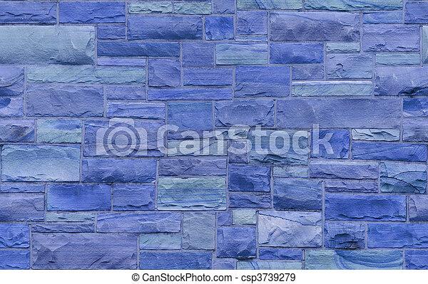 Un fondo de albañilería azul - csp3739279