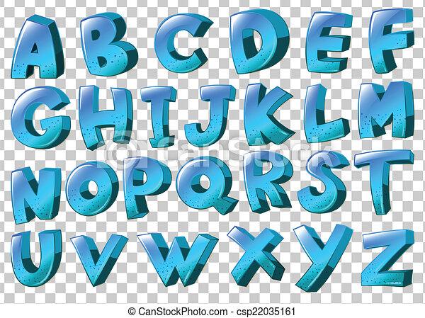 Cartas del alfabeto en colores azules - csp22035161