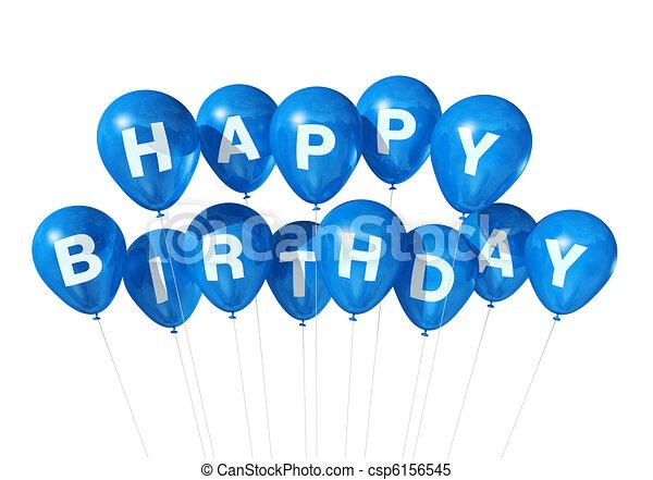 azul, aniversário, balões, feliz - csp6156545
