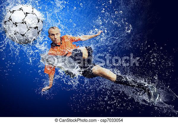 azul, ao redor, futebol, água, jogador, fundo, sob, gotas - csp7033054