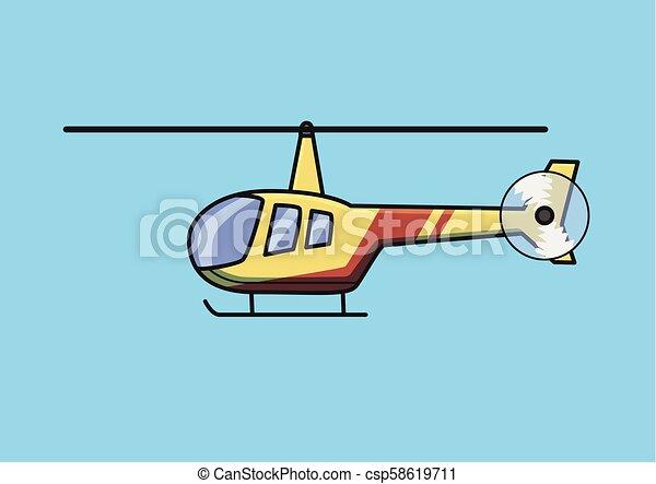 azul, apartamento, illustration., luz, isolado, experiência., vetorial, chopper, aircraft., helicóptero - csp58619711