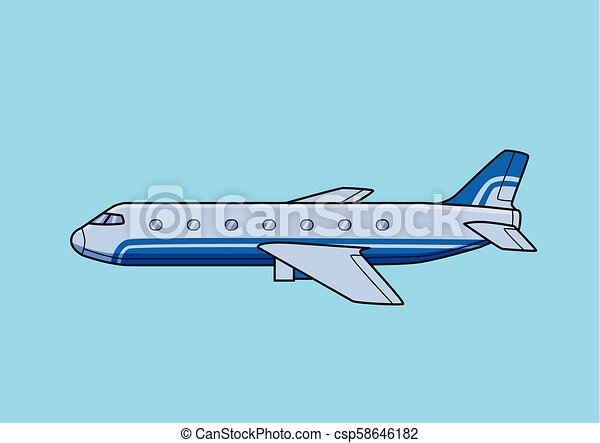 azul, apartamento, illustration., experiência., airliner, aeronave, comercial, isolado, avião., vetorial - csp58646182