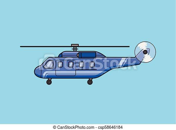 azul, apartamento, illustration., grande, isolado, experiência., vetorial, helicóptero, chopper, aircraft., transporte - csp58646184