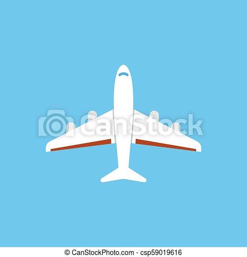 azul, apartamento, -, isolado, ilustração, experiência., vetorial, avião, ícone - csp59019616