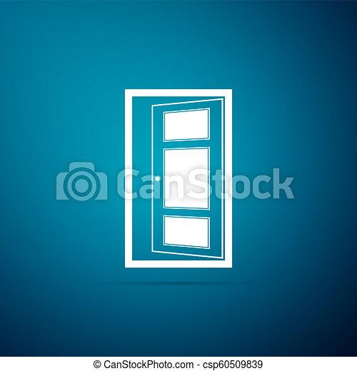 azul, apartamento, porta, isolado, ilustração, experiência., vetorial, ícone, abertos, design. - csp60509839