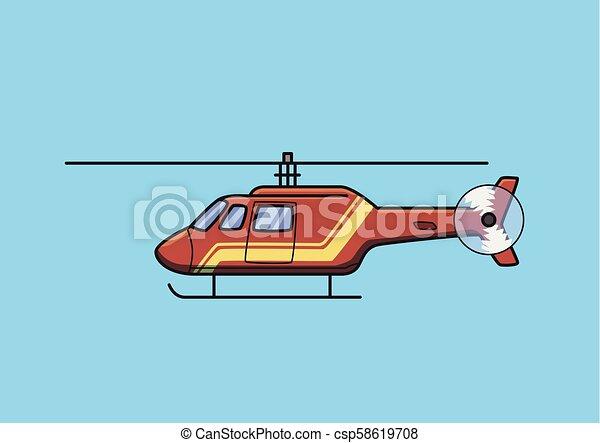 azul, apartamento, salvamento, aircraft., isolado, experiência., vetorial, helicóptero, chopper, vermelho, illustration. - csp58619708