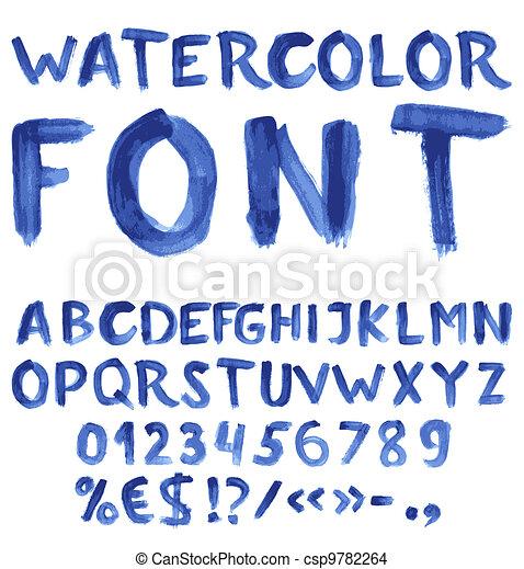 azul, aquarela, manuscrito, alfabeto - csp9782264
