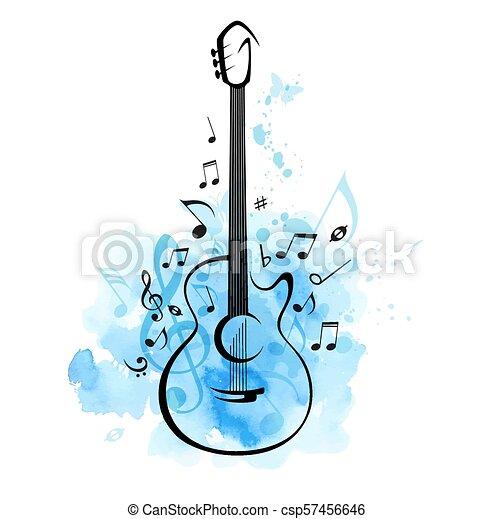 Azul Aquarela Notas Guitarra Fundo Azul Guitarra