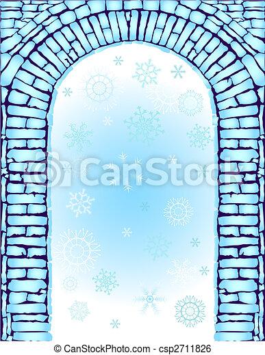 azul, arco, fundo, (vector), natal - csp2711826