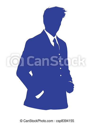 Hombre de negocios avatar azul - csp8394155