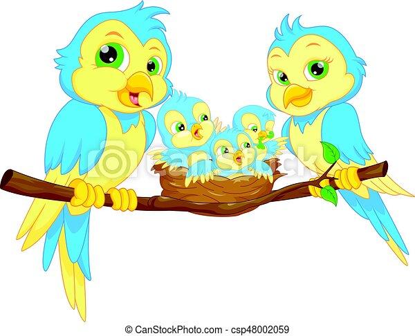 Familia de pájaros azules - csp48002059