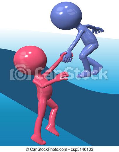 El ayudante azul levanta a un amigo 3D - csp5148103