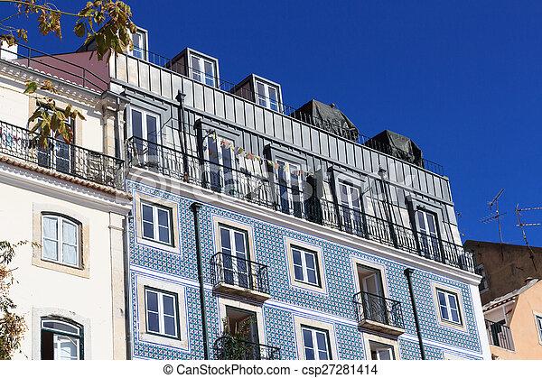 Azul azulejos casa azulejo lisboa fachada - Azulejos para fachadas ...