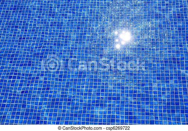 Tejas azules, piscina de agua, textura reflejada - csp6269722
