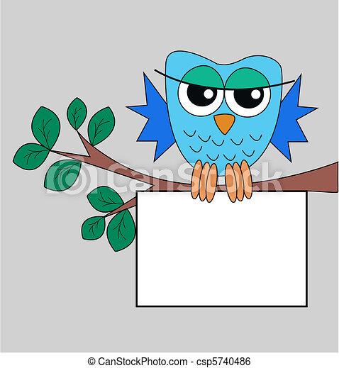 Un búho azul sosteniendo una señal - csp5740486